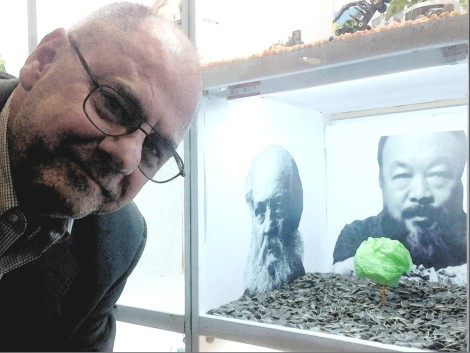 Barry poses with Ai Weiwei inspired sculpture he created for a contest at his company.